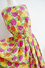 Vestido De Té Floral Estilo Década de 1940 años 50 Geek Pin Up colorido M&S Vintage Cinturón UK 12