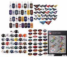 NFL MINI HELMETS, WHISTLES, ERASERS, TABLETOP FOOTBALLS, DOG TAGS, FULL SETS 32
