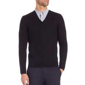 New! Large Burberry London Black 100% Merino Wool Long Sleeve V Neck Men