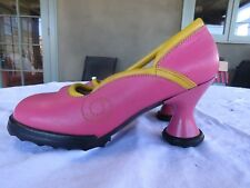 FLUEVOG LILY DARLING MINIS PUMPS, PINK W/YELLOW, GREAT CONDITION, 10 FIT 9-9.5
