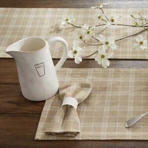 2 Fieldstone Woven Cotton Tan White Plaid Country Farmhouse Placemats 13x19