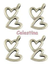 25 Heart Charms - Antique Silver Double Hearts 18mm LF Valentines Love Beads