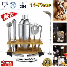 14PCS Stainless Steel Cocktail Shaker Bar Set Jigger Muddler Bartender Tools Kit
