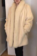 Creamy Color Mink Fur Coat With Fox Fur Trim. Size 6. Excellent Condition