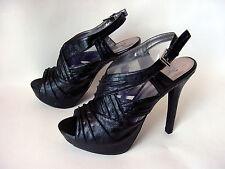 """Womens 8.5 BLACK """"CRiNKLe"""" Open Peep Toe SPiKE Stiletto Heels ~ SiDE BuCKLe"""