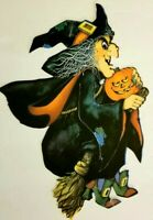1980 VINTAGE HALLMARK HALLOWEEN FLYING WITCH W PUMPKIN DIE CUT -