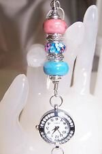 Pink & Blue Floral Murano and Shiny Ceramic Beaded Lanyard  With Watch