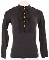 POLO RALPH LAUREN Womens Ruffle Front Top Long Sleeve Size 10 Small Black  LZ07