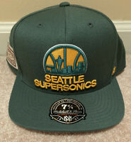 NEW Mitchell&Ness Seattle SuperSonics Hi Crown Fitted Hat 7 3/4 Hardwood Classic