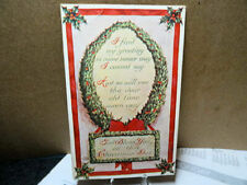 1910 Postcard Christmas Poem In A Wreath