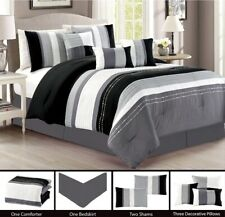7Pc CAL King Modern Black Grey White Stripe Embroidered Pin Tuck Comforter Set