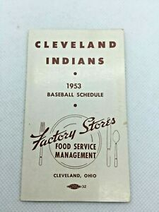 1953 Cleveland Indians Baseball Schedule Factory Stores Industrial Cafeteria
