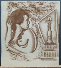 Robert Ubhaus (American 20th Cent) Original Signed Pastel Nude Woman Cubism