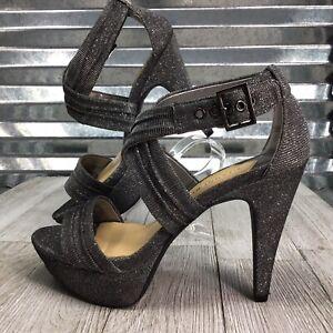 Gianni Bini Dress Heel Sandal Gladiator Glitter Silver Wedding Formal Shoe 6.5