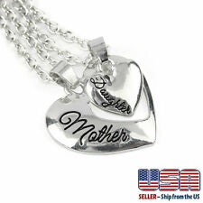 """Silver Tone """" Mother Mom & Daughter"""" Engraved Two Hearts Pendant Necklace 18"""""""