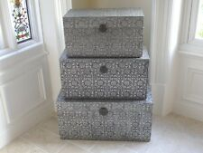 BLACK SILVER EMBOSSED ANTIQUE EFFECT SET 3 TRUNKS OTTOMAN BLANKET BOX (DX3249)