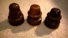 LOT of three small CERAMIC Insulators- Beautiful CHOCOLATE BROWN coloring