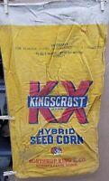Vintage Kingscrost Hybrid Seed Corn Cloth Sack Bag Northrup King Seed