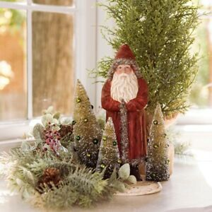 """Ragon House 10"""" Belsnickle Santa w/Tinsel and Bottle Brush Christmas Trees"""