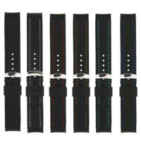 Silicone Watch Strap Band Curved Ends Black Rubber with Stitch Band 22mm