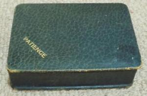 Antique 1920s Leather Covered Patience Playing Cards Box Case