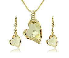 18K GOLD HEART JEWELLERY SET SWAROVSKI ELEMENTS CRYSTALS NECKLACE EARRING SET UK