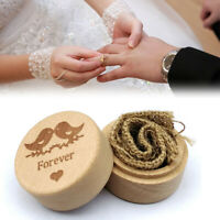 Wood Ring Box Jewelry Holder Rustic Wedding Engagement Case Necklace Storage