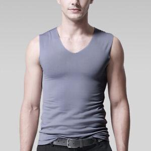 Men Tank Top Ice Silk Vest Sleeveless T Shirts Sport Undershirts V-neck Casual