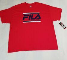 Fila Men's Large Blue/White Logo Graphics T-Shirt Red Size 3XL NWT 100% Cotton