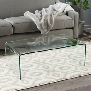 Noble House Glass Coffee Table Roman Tempered, Clear