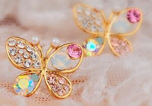 Schmetterling Strass Ohrringe Farbe Gold 6