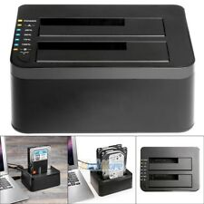 "16TB USB 3.0 2.5""& 3.5"" HDD SDD SATA Dual External Hard Drive Docking Station US"