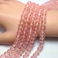 4mm 6mm 8mm 10mm AB Beads Pink Faceted Rondelle Glass Crystal Strings Jewelry