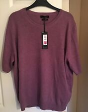 Marks And Spencer Ladies Pure Cashmere Round Knitted Top Size 22 Lilac
