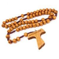 "Olive wood Handmade Rosary beads Prayer Knot w/ Tau Cross Saint Francis 13.5"""