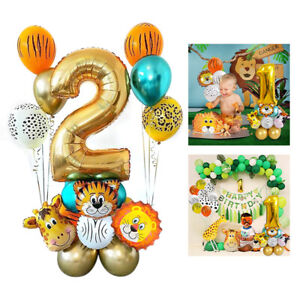 Animal Safari Foil Latex Balloons Jungle Happy Birthday Party Decorations Kids