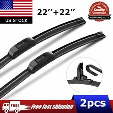22'' & 22'' Windshield Wiper Blades J-Hook For Ram 1500 2500 Honda Ridgeline