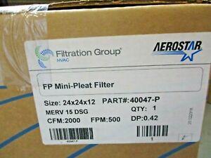 NEW AEROSTAR MERV-15-DSG FP MINI-PLEAT FILTER 24X24X12 P/N 40047-P