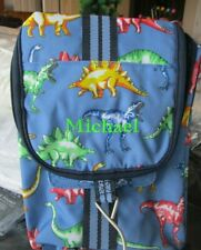 Pottery Barn Mackenzie blue multi dino Dinosaur Toiletry Bag mono Michael New