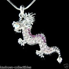 Purple Chinese Dragon made with Swarovski Crystal Oriental Gothic Lucky Necklace