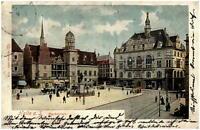 HALLE Saale AK 1906 nach Bolzenburg (Ankunftsstempel) Lithographie vom Markplatz