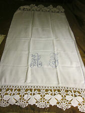 Antique Hand done Monogrammed Aj Home spoon textile crocheted lace Towel scarf
