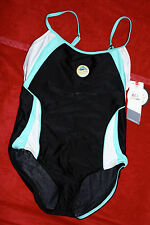 Speedo Swimming/lap pool Black with Mint Green, White Sze 12