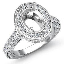 Diamond Engagement Filigree Ring Oval Semi Mount Halo Pave Set Platinum 1.6Ct
