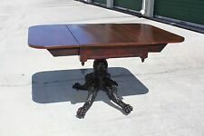 Magnificent Classical Empire Heavily Carved Drop Leaf Dining Table ~ Ca.1830