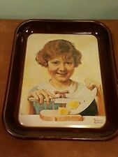 Vintage Norman Rockwell Painting Butter Girl Tin Tray 1975
