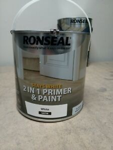Ronseal Stays white 2-in-1 Primer and Paint - White Satin, 2.5L