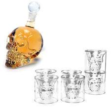 Schädel Glas Flasche Totenkopf Whiskyglas Set 350ml Karaffe+6 Gläser 75ml