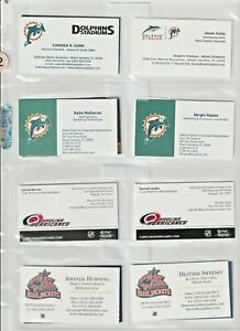 (90) ASSORTED MIAMI DOLPHINS NHL ARENA / INDOOR FOOTBALL BUSINESS CARDS RARE LOT