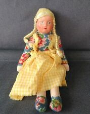 Vintage Molded Face Rag Doll Polish Girl - Farm Girl Made In Poland 11 1/2""